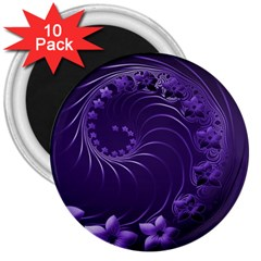 Dark Violet Abstract Flowers 3  Button Magnet (10 Pack)