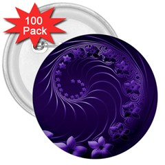 Dark Violet Abstract Flowers 3  Button (100 pack)