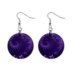 Dark Violet Abstract Flowers Mini Button Earrings