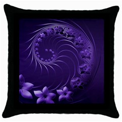 Dark Violet Abstract Flowers Black Throw Pillow Case