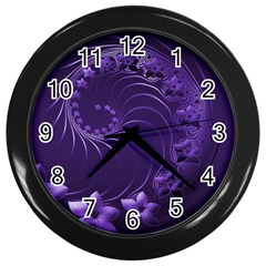 Dark Violet Abstract Flowers Wall Clock (Black)