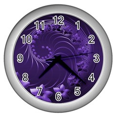Dark Violet Abstract Flowers Wall Clock (silver)