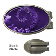 Dark Violet Abstract Flowers Money Clip (Oval)