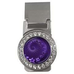 Dark Violet Abstract Flowers Money Clip (CZ)