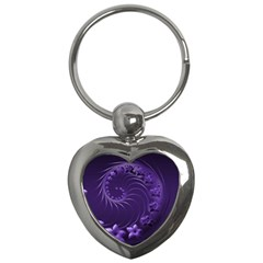 Dark Violet Abstract Flowers Key Chain (Heart)