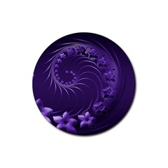 Dark Violet Abstract Flowers Drink Coasters 4 Pack (Round)