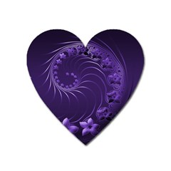 Dark Violet Abstract Flowers Magnet (heart)