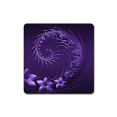 Dark Violet Abstract Flowers Magnet (Square)