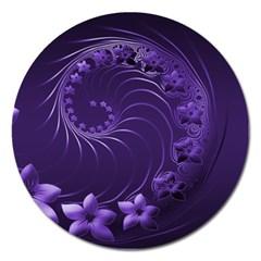 Dark Violet Abstract Flowers Magnet 5  (Round)