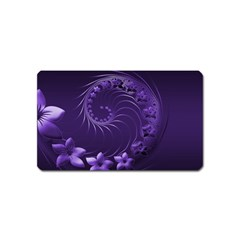 Dark Violet Abstract Flowers Magnet (Name Card)