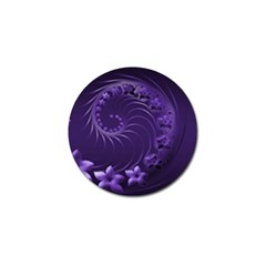 Dark Violet Abstract Flowers Golf Ball Marker 4 Pack