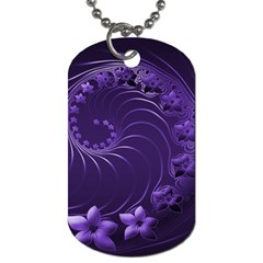 Dark Violet Abstract Flowers Dog Tag (two Sided)