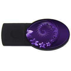 Dark Violet Abstract Flowers 2GB USB Flash Drive (Oval)