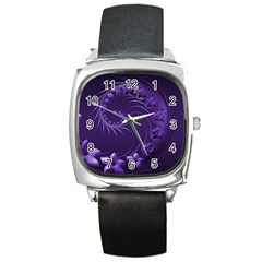 Dark Violet Abstract Flowers Square Leather Watch