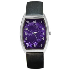 Dark Violet Abstract Flowers Tonneau Leather Watch