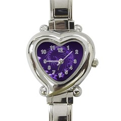 Dark Violet Abstract Flowers Heart Italian Charm Watch