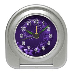 Dark Violet Abstract Flowers Desk Alarm Clock