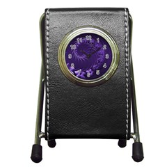Dark Violet Abstract Flowers Stationery Holder Clock