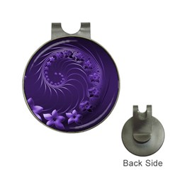 Dark Violet Abstract Flowers Hat Clip with Golf Ball Marker