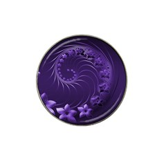 Dark Violet Abstract Flowers Golf Ball Marker (for Hat Clip)