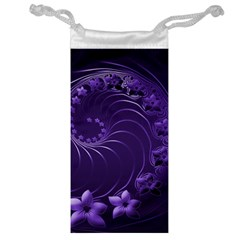 Dark Violet Abstract Flowers Jewelry Bag