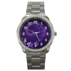 Dark Violet Abstract Flowers Sport Metal Watch