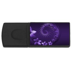 Dark Violet Abstract Flowers 4GB USB Flash Drive (Rectangle)