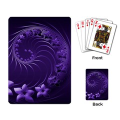 Dark Violet Abstract Flowers Playing Cards Single Design