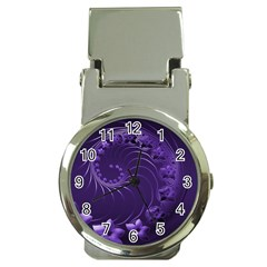 Dark Violet Abstract Flowers Money Clip With Watch