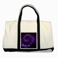 Dark Violet Abstract Flowers Two Toned Tote Bag