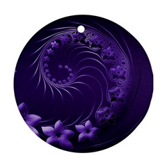 Dark Violet Abstract Flowers Round Ornament (Two Sides)