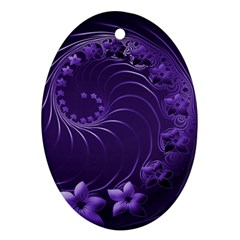 Dark Violet Abstract Flowers Oval Ornament (Two Sides)