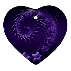 Dark Violet Abstract Flowers Heart Ornament (two Sides)