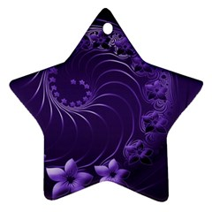 Dark Violet Abstract Flowers Star Ornament (two Sides)