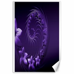 Dark Violet Abstract Flowers Canvas 24  X 36  (unframed)