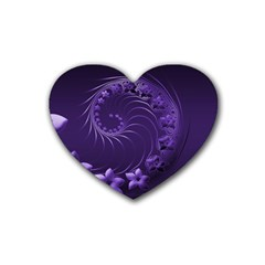 Dark Violet Abstract Flowers Drink Coasters 4 Pack (heart)