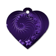 Dark Violet Abstract Flowers Dog Tag Heart (one Sided)