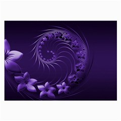Dark Violet Abstract Flowers Glasses Cloth (large)