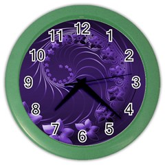 Dark Violet Abstract Flowers Wall Clock (Color)