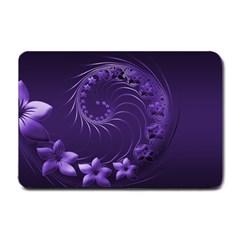 Dark Violet Abstract Flowers Small Door Mat