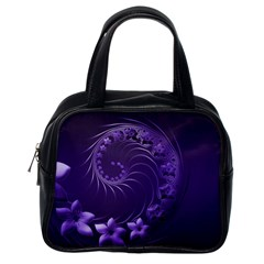 Dark Violet Abstract Flowers Classic Handbag (One Side)