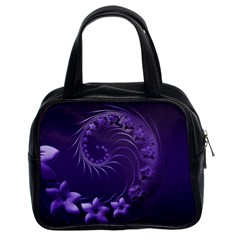 Dark Violet Abstract Flowers Classic Handbag (Two Sides)