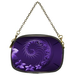 Dark Violet Abstract Flowers Chain Purse (One Side)