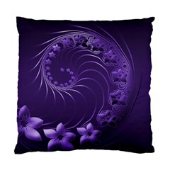 Dark Violet Abstract Flowers Cushion Case (Two Sides)
