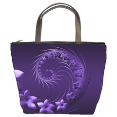 Dark Violet Abstract Flowers Bucket Bag