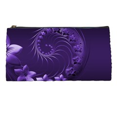 Dark Violet Abstract Flowers Pencil Case