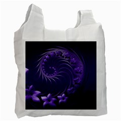 Dark Violet Abstract Flowers Recycle Bag (Two Sides)