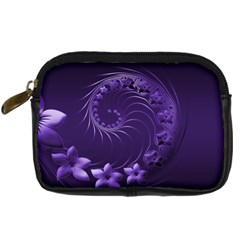 Dark Violet Abstract Flowers Digital Camera Leather Case