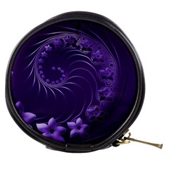 Dark Violet Abstract Flowers Mini Makeup Case