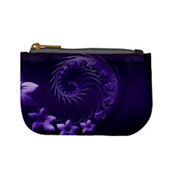 Dark Violet Abstract Flowers Coin Change Purse